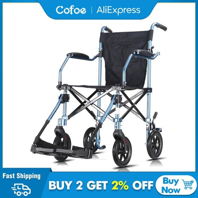Cofoe tekerlekli sandalye katlanır taşıma tekerlekli sandalye alüminyum hafif engelli arabası ışık Handiness Brougham engelliler için