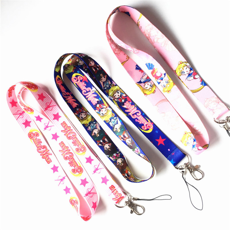 Anime Sailor Moon Key Lanyard Cosplay Badge ID Cards Holders Neck Straps Keyring Keychain
