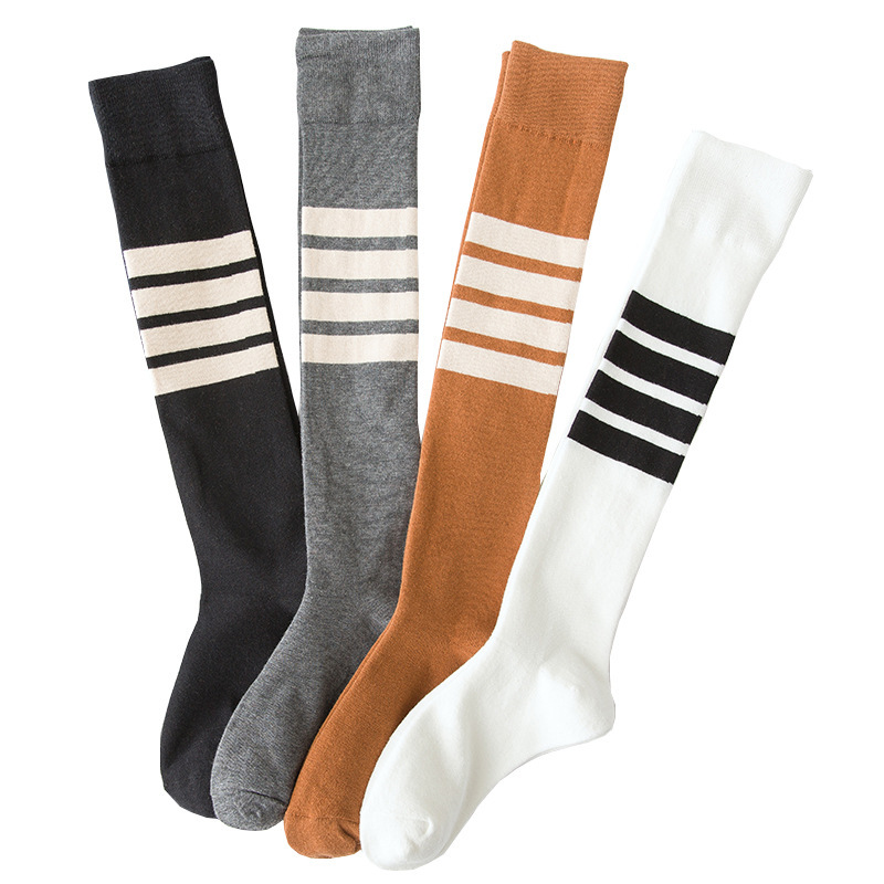New Ladies Cotton Street Hip Hop Funny Long Socks Funny Personality Asymmetric Sports Student Stripes Solid Color Long Socks
