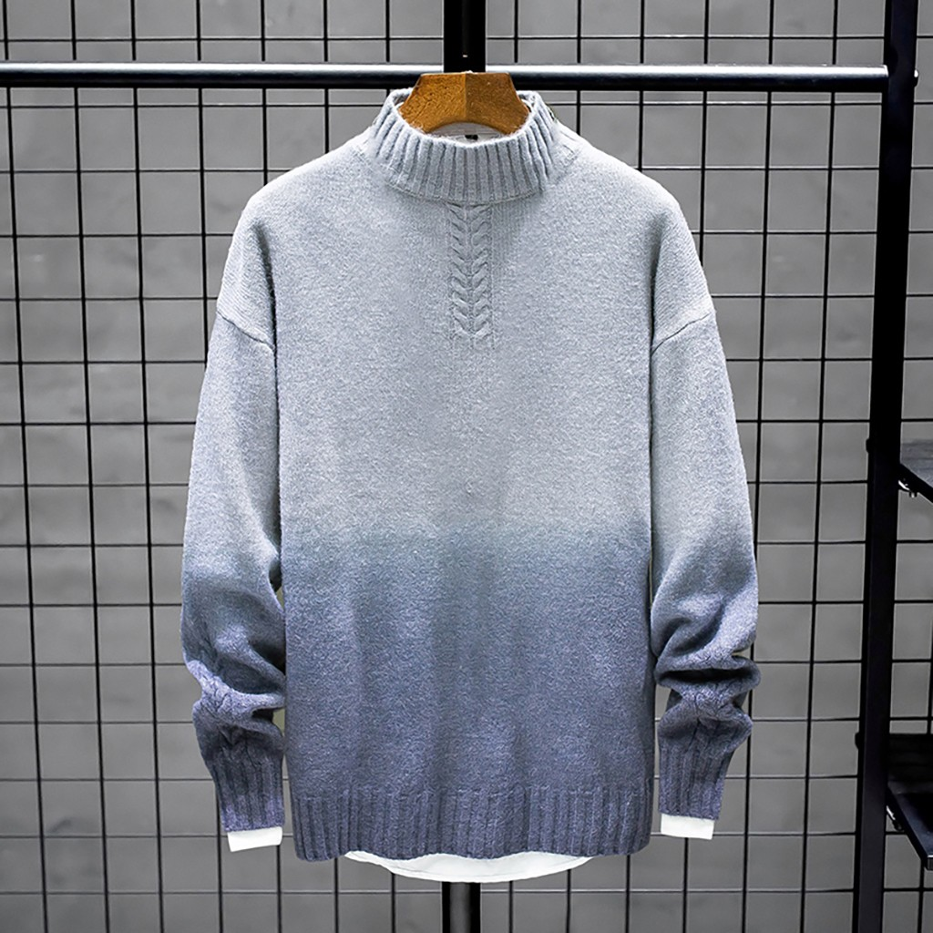 Womail Color Patchwork Turtleneck Sweater Men Long Sleeve Casual Men Sweater Winter Plus Size Loose Mens Pullover Sweaters