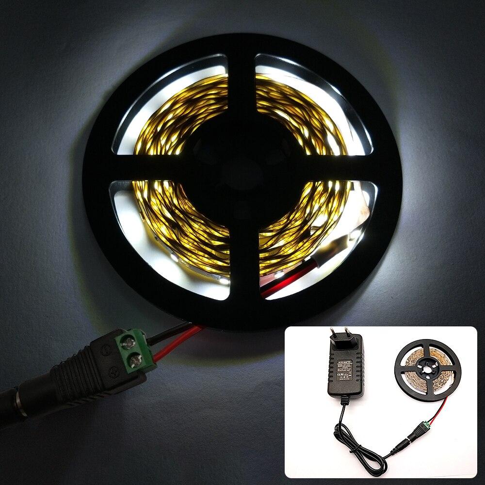 H69ee919dcb394d7e96fce4f29116ea94y 5 meter 300Leds Non-waterproof RGB Led Strip Light 2835 DC12V 60Leds/M Flexible Lighting Ribbon Tape +24key Controller fita led