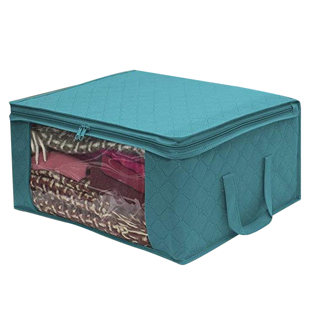 Non Woven Fabric Folding Storage Box Dirty Clothes Collecting Case With Zipper For Toys Quilt Storage Box Clear Window Organizer - Цвет: 49x36x21cm blue