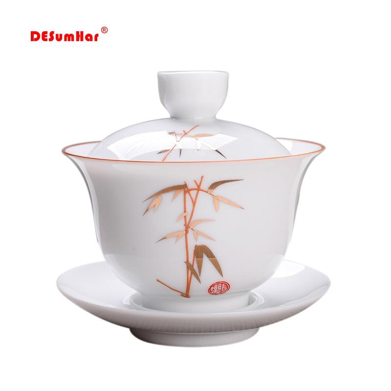 White Porcelain Tea Tureen Cup,outline In Gold Cover Bowl Tea Set Gaiwan Tea Porcelain Pot Set Travel Beautiful Kettle 180ml
