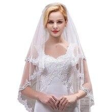 Femmes court 2 niveaux Tulle pure dentelle mariage voile De mariée avec peigne Velos De Novia bout des doigts Vail ivoire voile deux couches