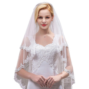 Image 1 - Womens Short 2 Tier Tulle Sheer Lace Wedding Bridal Veil with Comb Velos De Novia Fingertip Vail  Ivory Veil Two Layer