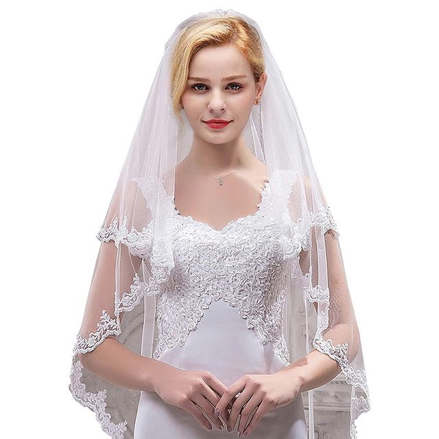 Womens Short 2 Tier Tulle Sheer Lace Wedding Bridal Veil with Comb Velos De Novia Fingertip Vail  Ivory Veil Two Layer