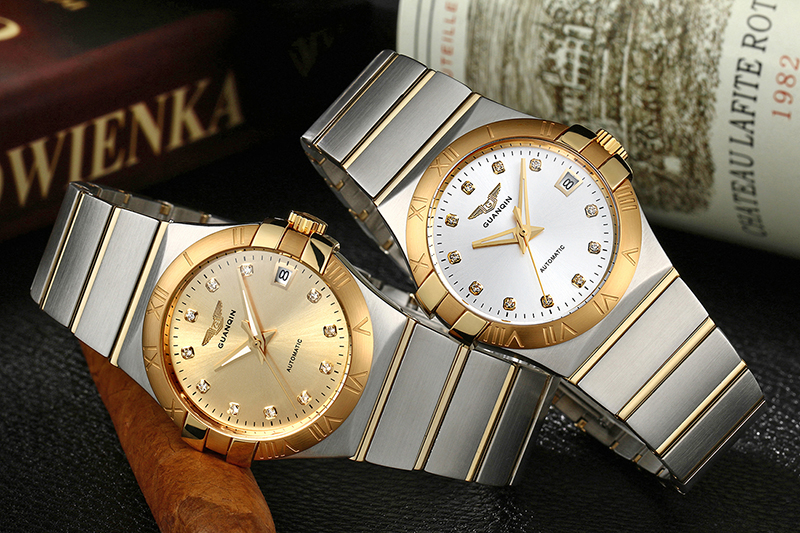 luxo relógio mecânico marca 316l ouro inoxidável