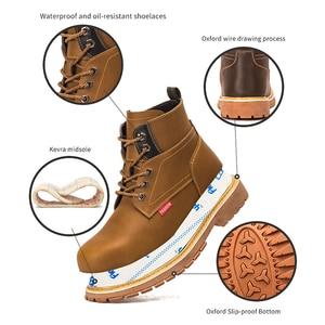 Image 4 - Ботинки на платформе с заклепками; Мужская обувь размера плюс; Модель 2020 года; Дизайнерские рабочие ботинки со стальным носком; Неразрушаемые ботинки
