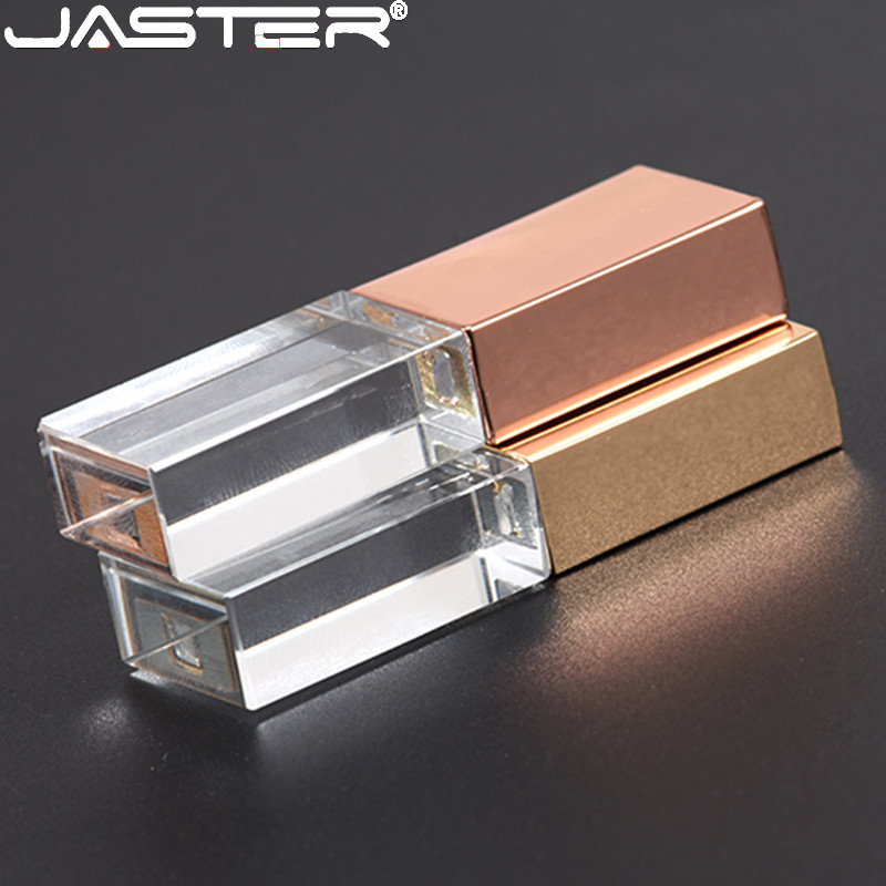 JASTERS Crystal Usb Sticks 3D Print Custom Logo USB 2.0 4GB 8GB 16GGB 32GB 64GB 128GB Usb Flash Pen Drive Transparent Glass