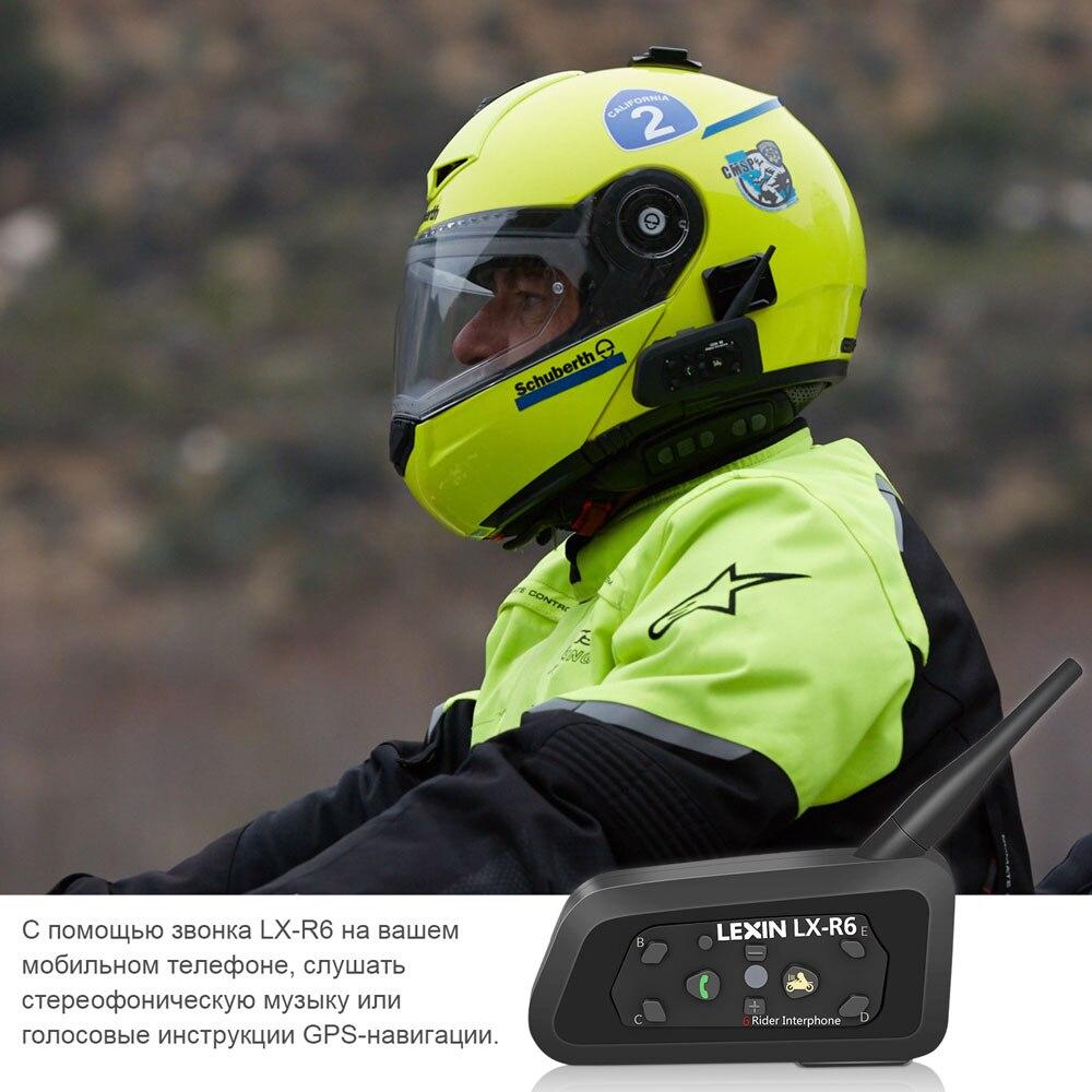Lexin 2шт R6 Bluetooth Интерком для Мотошлема Водозащитная Мотогарнитура для 6 Райдеров в Группе BT 21 Helmet Intercom MP3 - 5