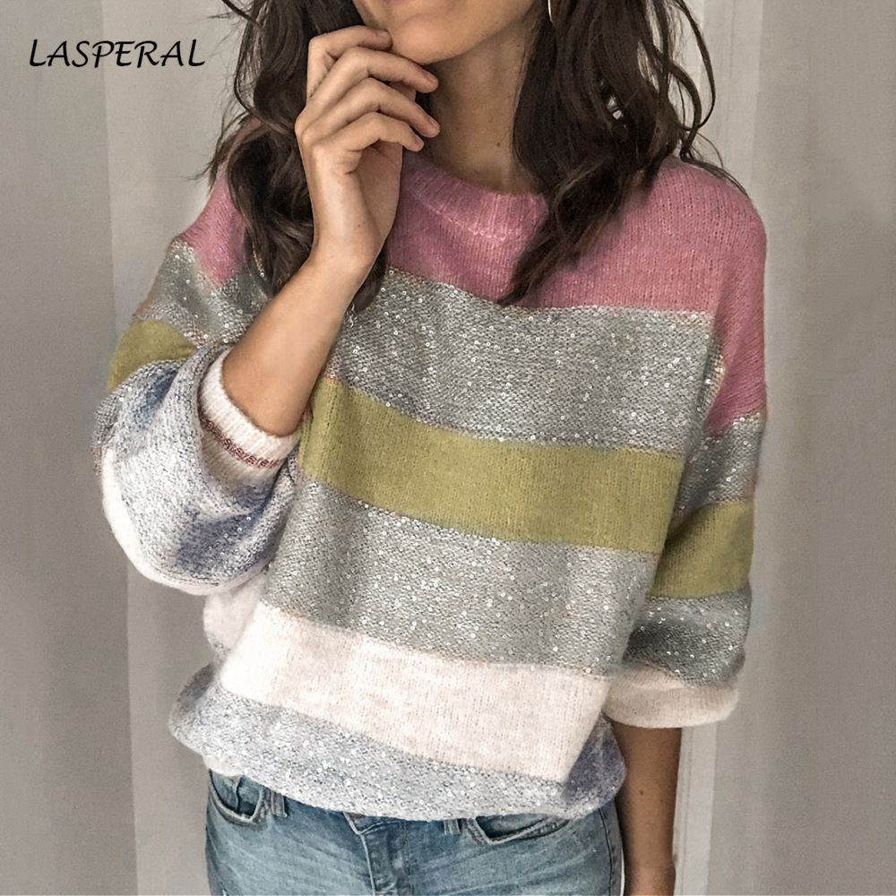 LASPERAL Korean Style Long Sleeve Warm Women Sweater Plus Size Striped Lurex Knitted Ladies Sweaters Pullover Winter Clothing