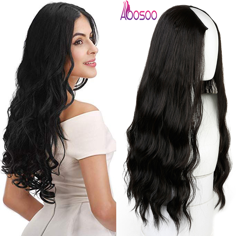 "Long Wavy Culry U-Shaped Half Wig for Women 24"" Natural Female Long Black Brown Wigs Heat Resistant Synthetic Fake Hair"