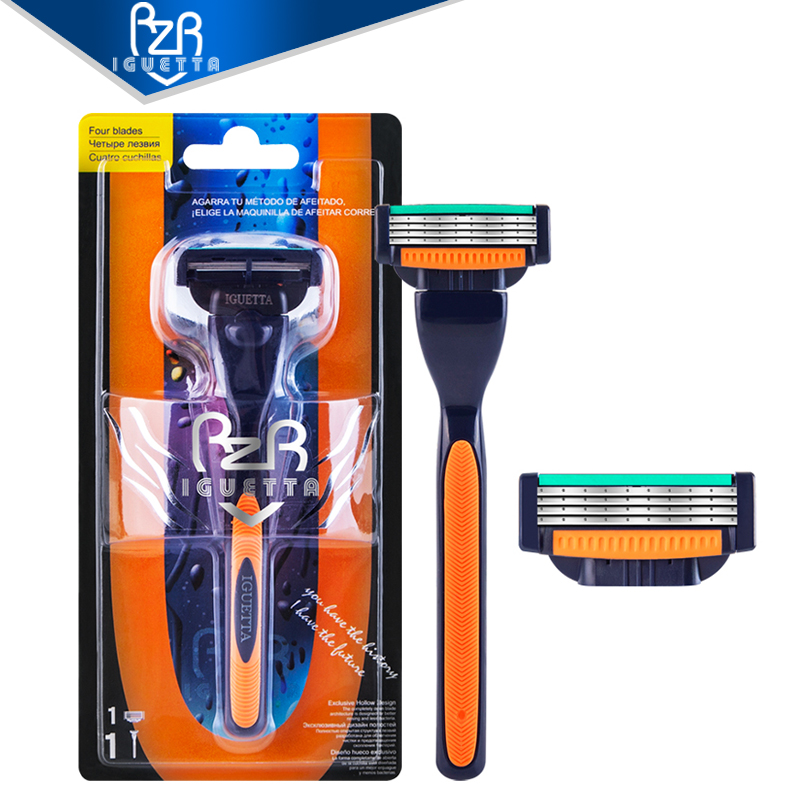 RZRIGUETTA Razor Men Quality Steel Blade 4 Layer Razor Blade Cartridge Shaving Razor For Men Beard Body Hair Remover Hollow-Out