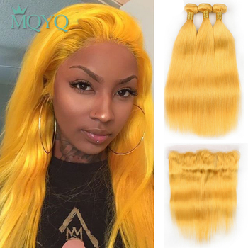 MQYQ Yellow Color bundles Straight Human Hair 3 Bundles With Lace Frontal Closure Peruvian Hair Extensions Remy Hair Pre Plucked