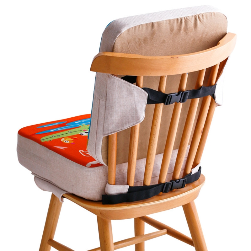Portable Cartoon High Chair Pad Booster Dining Room Detachable Sponge Increasing Seat Cushion Safety Buckle for Toddler