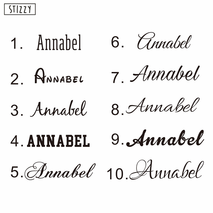 Personalised Text Any Name Word Vinyl Decal Wall Sticker Font Custom Own 6