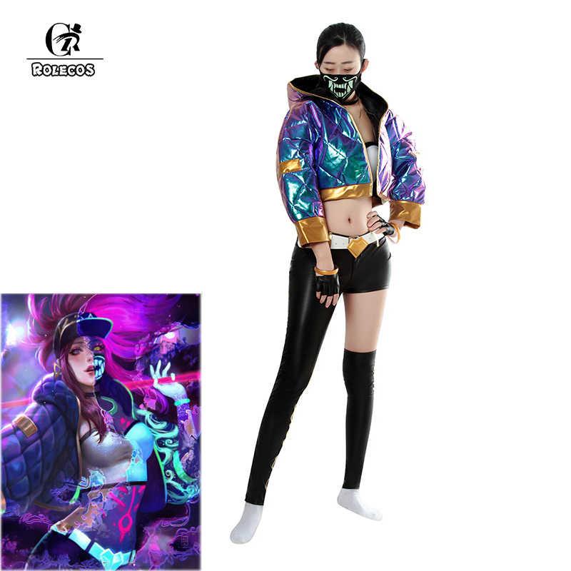 ROLECOS juego LOL KDA Akali Cosplay disfraz Akali Cosplay abrigo LOL KDA Cosplay uniforme cálido traje de invierno para mujer