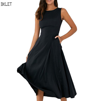 2020 New Autumn Casual Women Solid Black Dress O-Neck Sleeveless Female Party Dresses Vestidos Plus Size 2XL Dress plus size women half sleeve ruffles casual summer dress sexy o neck a line loose mini everyday dress sundress vestidos feminino