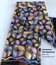 Apuramento 5 metros Suave laço francês Africano Nigeriano tecido tule desgaste ocasional vestido de costura pano de vestuário de alta qualidade