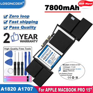 LOSONCOER High Quality Battery 7800mAh A1820 Laptop Battery For APPLE MACBOOK PRO 15