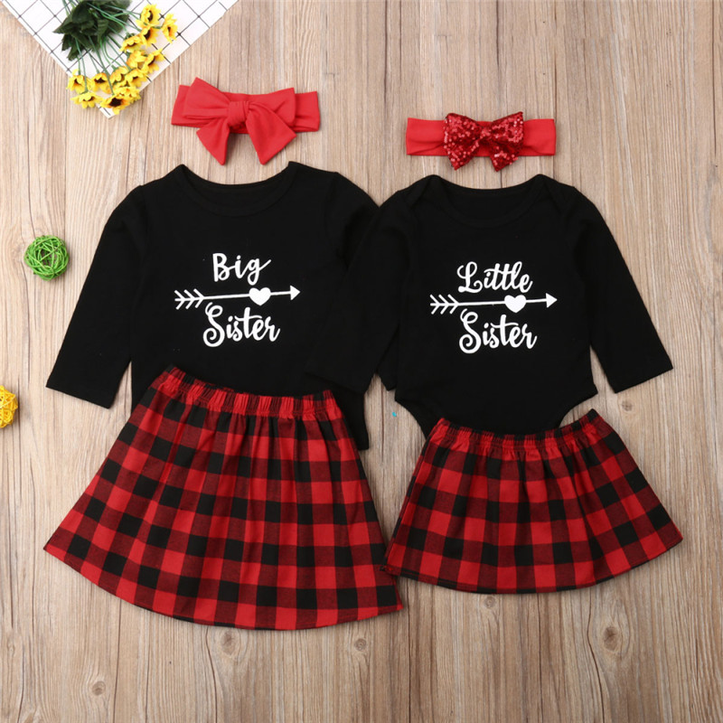 2019 Family Matching Clothes Big Sister T-shirt Little Sister Romper+Plaid Dress Outfits