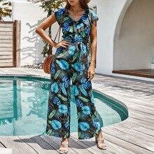 KNOYEER Summer vacation fashion jumpsuit Rayon printing BOHO jumpsuit ruffles frenulum decoration