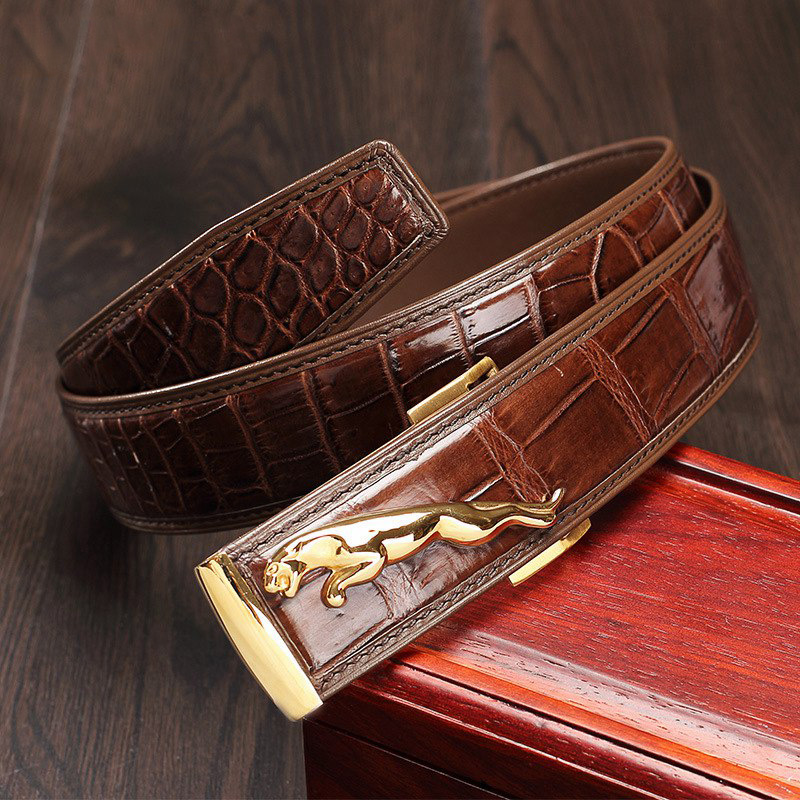 McParko крокодиловые мужские ремни роскошные пояса из натуральной кожи мужские оригинальные брендовые дизайнерские пряжки леопардовые джинс... - 5