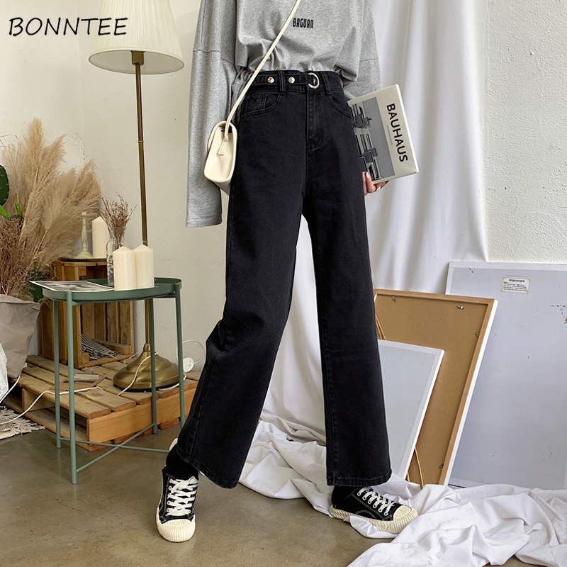 Jeans Womens High Adjustable Waist Casual Women Trousers Basic All-match Vintage Straight Harajuku Korean Style Fashion Lady New
