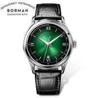 BORMAN 2021 Top Luxus Marke Männer Uhr Sapphire Glas Grün Zifferblatt Hohe Qualität Armbanduhr Business Automatische Mechanische Uhren