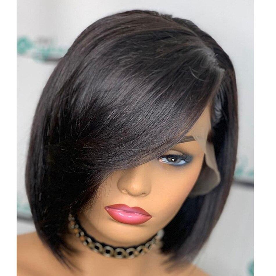 150 плотность глубокие боковые пряди Боб шелковистые прямые человеческие волосы 13x6 Синтетические волосы на кружеве парики с предварительно выщипанные волосы Волосы remy среднего соотношение - 3