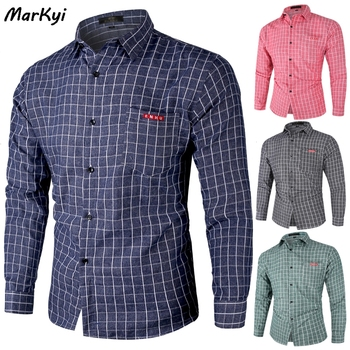 MarKyi 2020 new pocket plaid shirt men good quality long sleeve cotton dress shirts male business casual shirt markyi 2019 brand new floral print casual shirts for men good quality 3d compression long sleeve shirt men