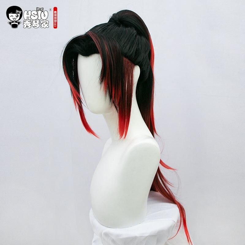 HSIU Tsugikuni Yoriichi Wig Costume Anime Cosplay Wig Demon Slayer: Kimetsu no Yaiba Black Medium Red Fiber Syntheitc Hair