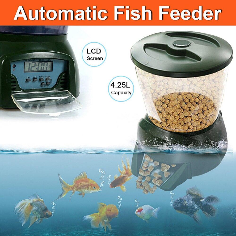 4.25L Automatique Étang distributeur de nourriture poissons Nourriture pour Poissons Distributeur D'aquarium Numérique Minuterie Chargeur avec LCD