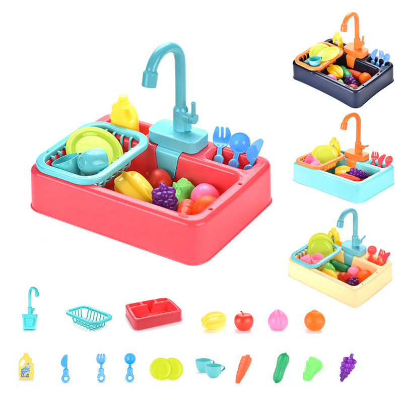DIY Simulation Kitchen Electric Sink Pretend Play Kitchen Toy Set Washing Play House Early Educational Toys For Children Kids