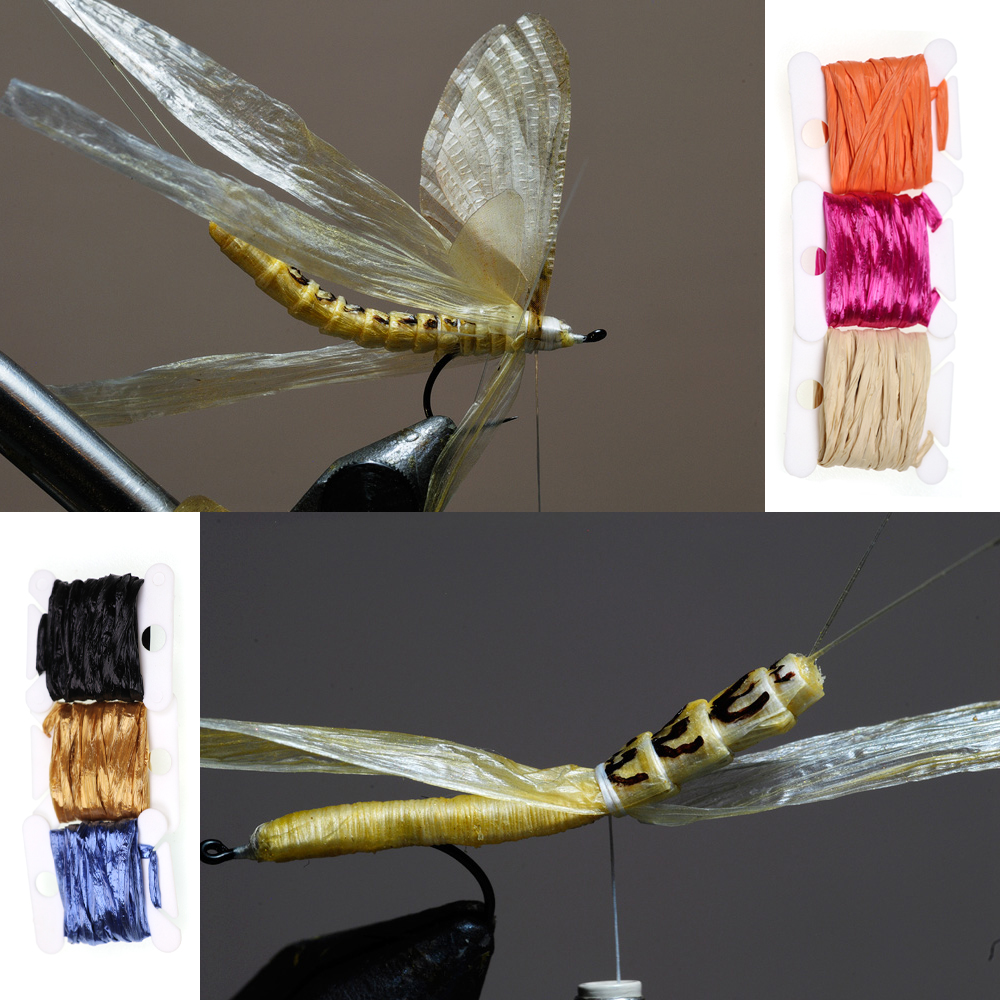 9 Colors Straw Raffia Wing Cases Shell Backs Nymphs Scud Fly Tying Materials