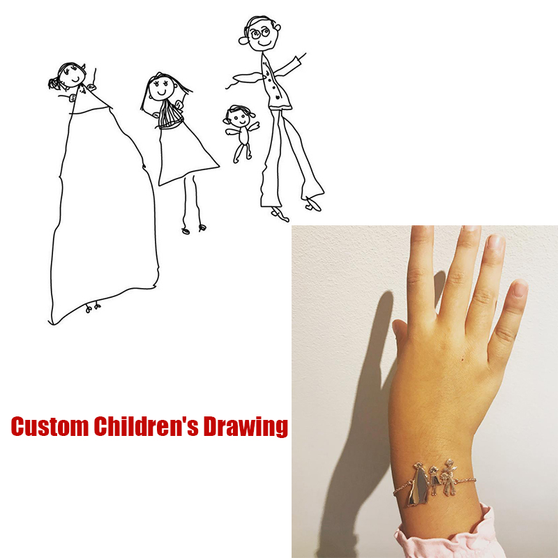 Custom Kids Drawing Bracelet Silver Gold Chain Stainless Steel Customized Actual Children Drawing Bracelet Mother's Gift BFF