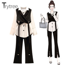 Trytree Spring Autumn Casual Three piece Women Sets Short Vest + Shirt + Flared Pants Pearl Split Hem Office Lady 3 Piece Set(China)