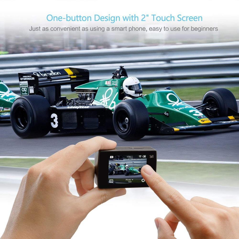 Экшн-камера YI для обнаружения 4K 20fps Спортивная камера 8MP 16MP с 2,0 сенсорным экраном Встроенный Wi-Fi 150 градусов ультра широкий угол
