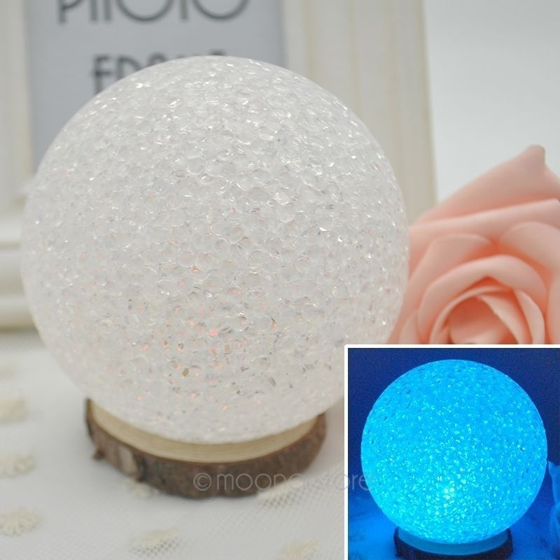 10cm Round Shaped Bedroom Lamp Colorful Crystal Night Light Change In Different Colors Automatically For Kids