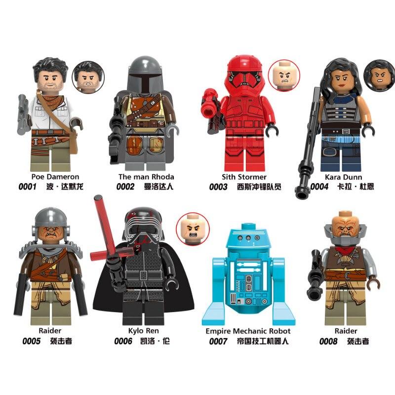 Star Wars Toys For Children 8Pcs/Set Lepins Set Baby Yodas Mandalorian Darth Maul Leia Rey Vader Luke Building Blocks