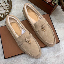 Winter Shoes Designer Genuine-Leather Women Loafer Slip-On Suede Female Flat High-Quality