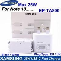 Samsung-cargador superrápido EP-TA800, carga rápida tipo C para viaje, para GALAXY Note 10, Note 10 Plus, Note 20 Ultra, 25W, EU / UK