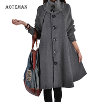 Autumn Winter Coat Women 2019 Casual Vintage Patchwork Cloak Plus Size Coats Female Elegant Warm Black Long Coat casaco feminino
