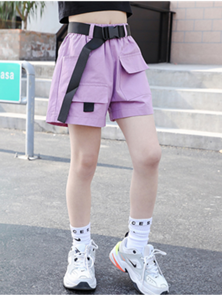 Cargo-Shorts Belt Purple Girls Black Kids Teens Fashion Summer Children's for Causal