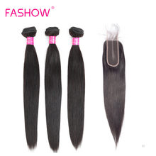 Peruvian Straight Virgin Hair 3 Pcs Bundles With Closure 2×6 Frontal Lace Natural Color 100% Human Hair Remy hair For Women(China)