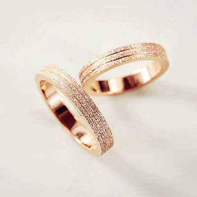 KNOCK  Top Quality Rose Gold Color Frosted Ring for Woman Girl Gift  316 L Stainless Steel Ring Never Fade  Jewelry 5