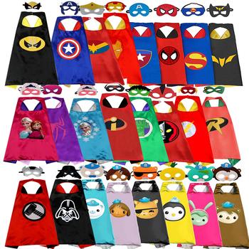 1 peleryna + 1 maska SuperHero peleryny Cosplay spiderman kostium dla dzieci impreza z okazji Halloween kostiumy dzieci Superhero płaszcz tanie i dobre opinie OLOEY Anime Unisex Kurtki Płaszcze Poliester