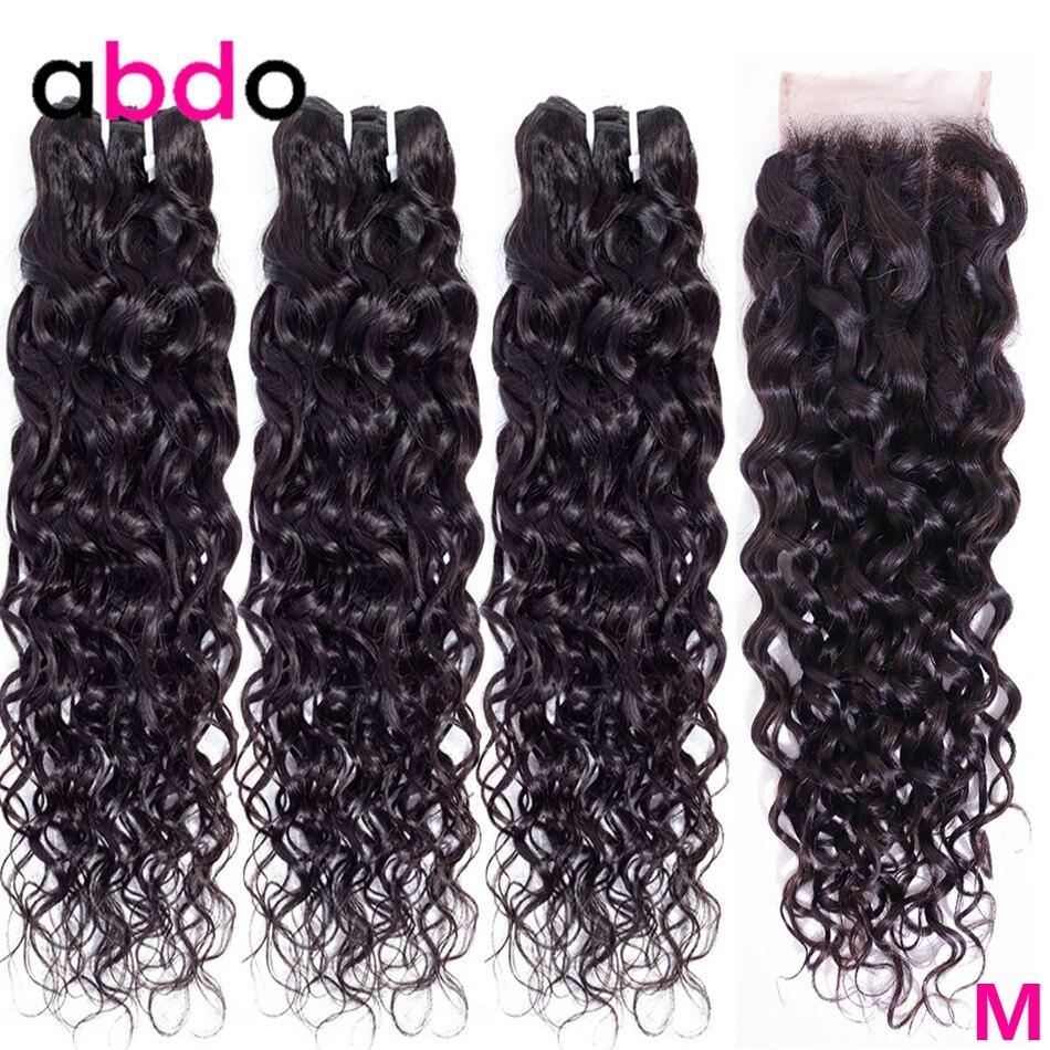 Волнистые человеческие волосы, пряди с закрытием, бразильские волосы, волнистые пряди с закрытием, не Реми, пряди Abdo