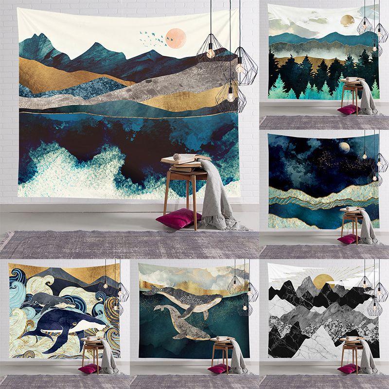 Landscape Tapestry Wall Macrame Tapisserie Mural Living Room Decor Hanging Tapiz Pared Tapisseries  Home Bengalas De Humo Color