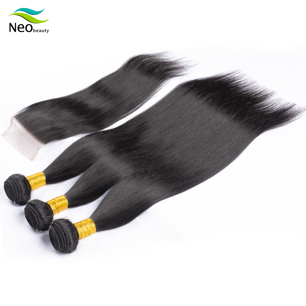 10 A Straight Hair Bundles With Closure Cambodian Human Hair Bundles With Free Shhipping